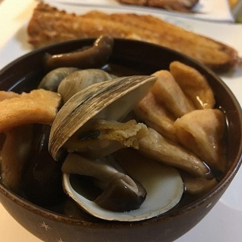 アサリと椎茸のほうじ茶スープ
